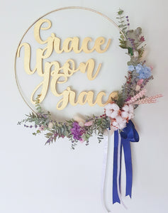 Customised Laser Art Golden Hoop - Happy Florals
