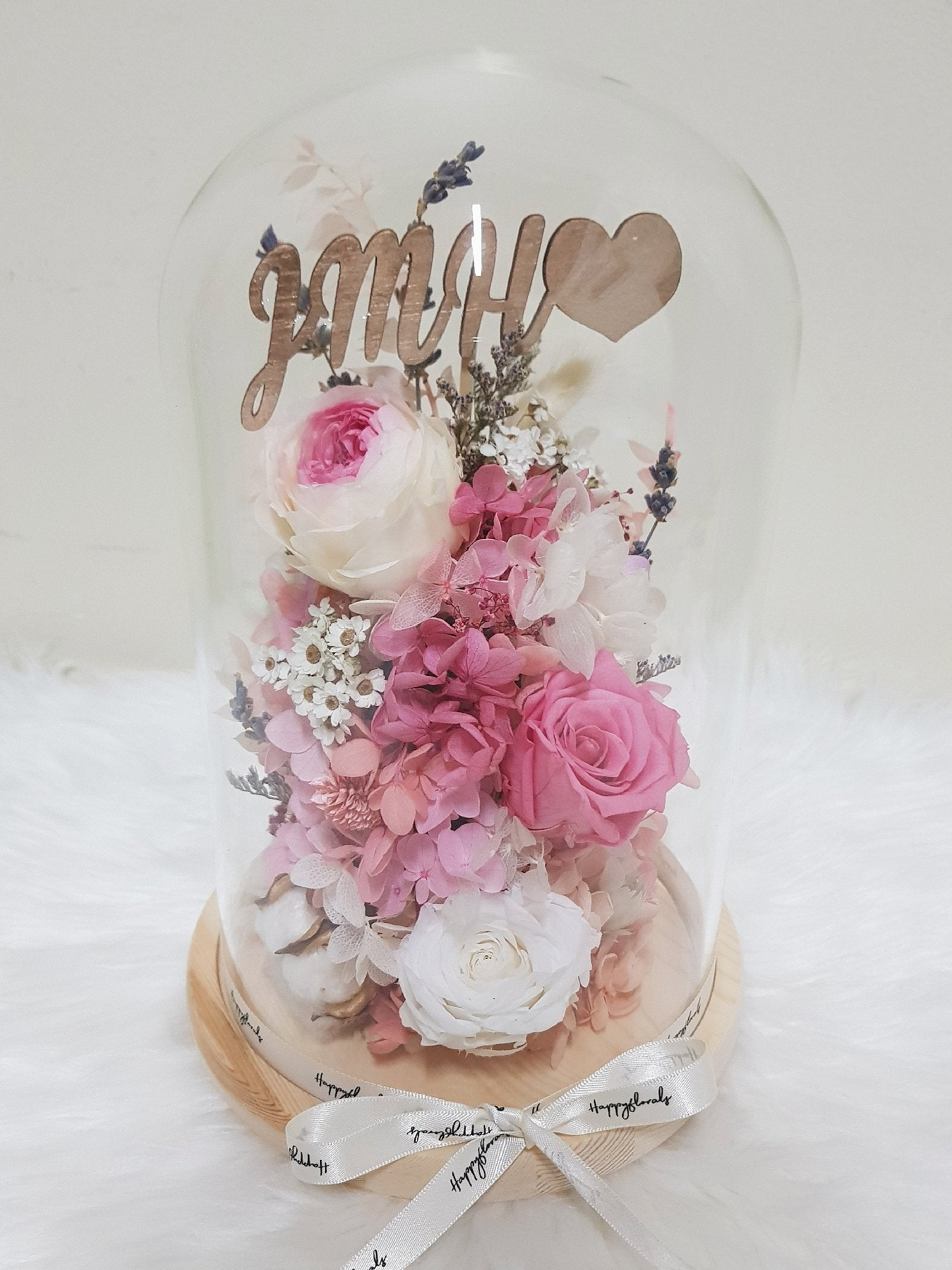 Customised Flower Glass Dome - Happy Florals