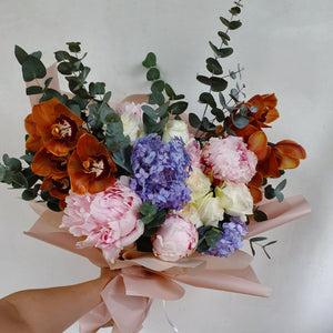 Peonies & Cymbidium Orchids - Happy Florals