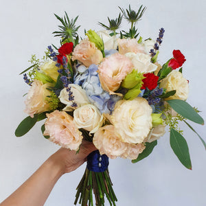 Bespoke Bridal Bouquet + Groom's Boutonniere - Happy Florals