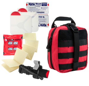 Multi-Person Initial Response Kit and the primary components to respond to active shooter and bleeding emergencies