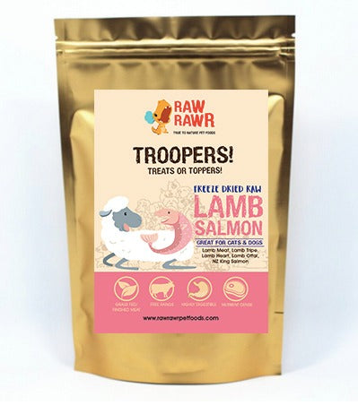 Raw Rawr Troopers Salmon and Lamb Freeze Dried Bites