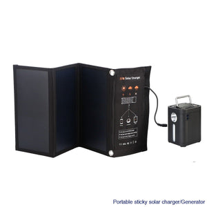 Portable sticky solar battery charger/Generator Charger Power Bank/AC Power Inverter - No solar panel / Black