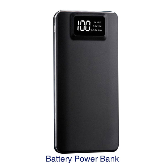 Battery Charger Power Bank Portable Hiking High Capacity Dual USB LCD Display Screen Mobile Phone Travel - black