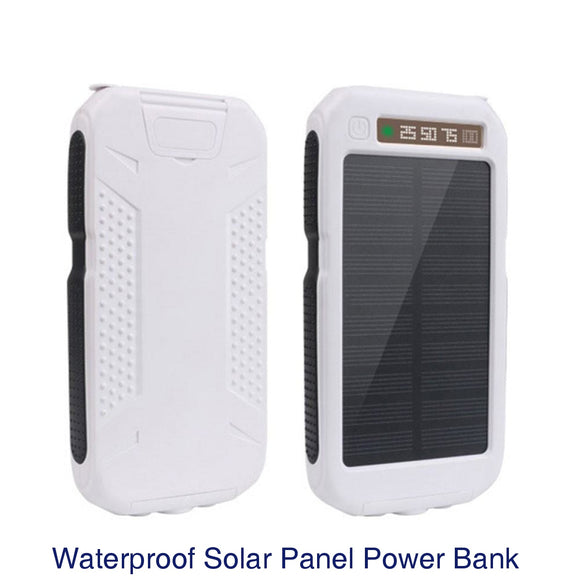 Outdoor Waterproof Solar Power Bank Dual USB Phone Charger w/ Flashlight - White + black