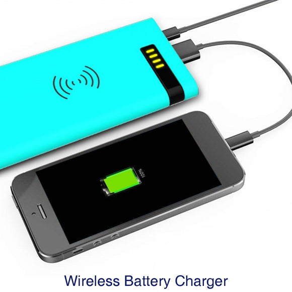 Wireless Battery Charger Portable MP4 Smartphone Power Bank Fast Charge 4000mAh MP3 Tablet - blue