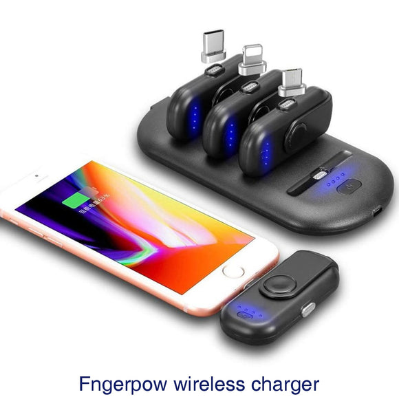 Fingerpow Wireless Portable Phone Charger Finger Magnetic Power Bank 5000mAh Charging Station & 4PCS 1000mAh Emergency Battery Charger