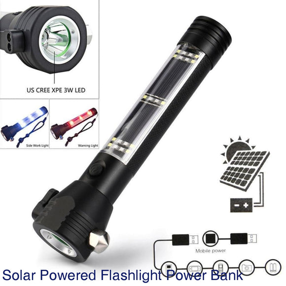 Customized Emergency Light Solar Powered LED Flashlight Safety Hammer Torch Light With Power Bank Magnet Survival Tool