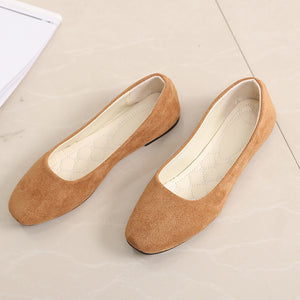 Spring And Autumn New Square Head Shoes Fashion Flat Suede Wild Single Shoes Women's Shoes