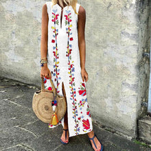 V-Neck Printed Cotton/Linen Casual Dress