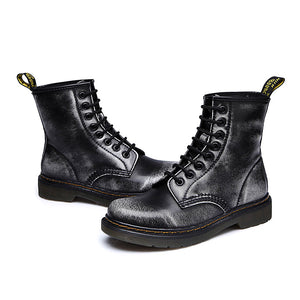 Autumn Winter Flat Low-Heeled British Martin Boots In The Tube Couple Leather Short Boots Motorcycle Boots Shoes