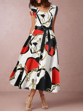 Round Neck Daily  Belt  Printed Maxi Dress