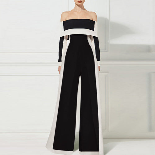 Fashion Off-Shoulder Long Sleeve Contrast Color Jumpsuits