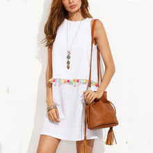 Round Neck  Tassel  Plain  Sleeveless Casual Dresses