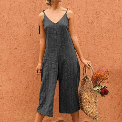 V-Neck Sling Cotton And Linen Casual Jumpsuit