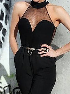 Sexy Halter Pure Colour Gauze Splicing Jumpsuits