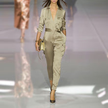 Army Green V Collars For Fall/Winter Jumpsuit