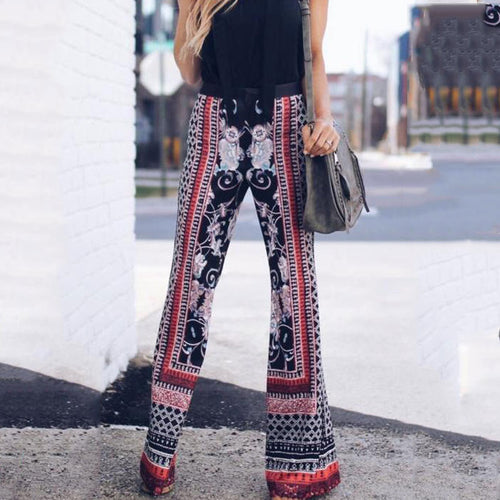 Vacation Casual Fashion Loose Floral Bell-Bottom High Waist Pants
