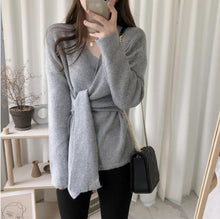 Casual Simple High   Waistlace Up  Knitted Sweater Blouse