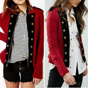 Band Collar  Decorative Buttons  Patchwork Outerwear