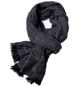 Autumn and winter solid color tassel yarn-dyed men's scarf