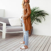 Turndown Collar Splicing Lace-Up Outerwear
