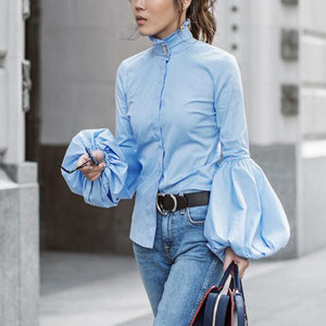 Elegant Fashion Slim Plain High Collar Long Sleeve Puff Cuff Button Front Blouse