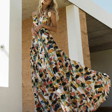 Fashion Floral Print Sleeveless Vacation Maxi Dress