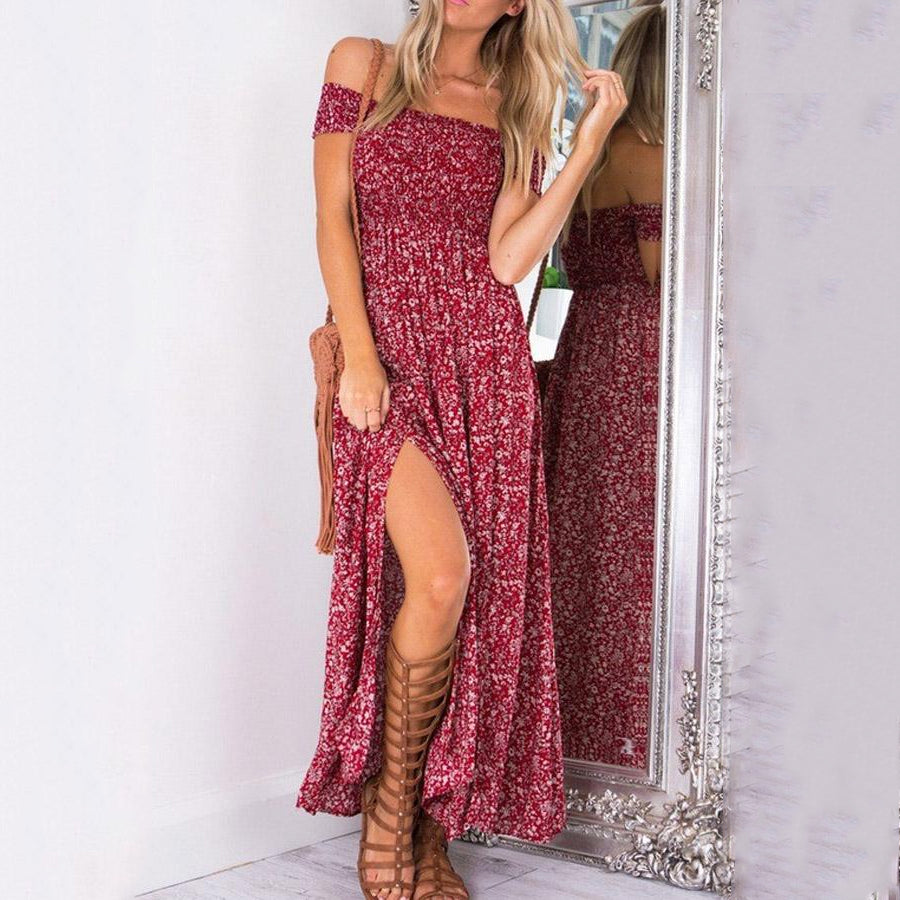 Off Shoulder Slit Printed Maxi Dresses