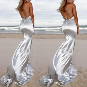 Fashion Sexy V Neck Backless Slimming Sparkling Crystal Evening Maxi Dress