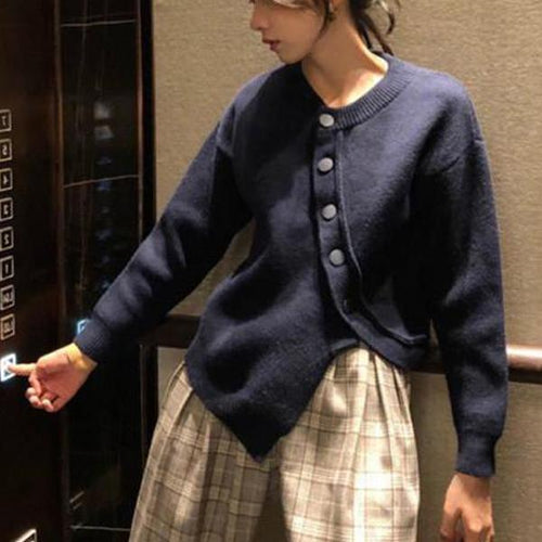 Fashion Pure Color Irregular Knitting Body Sweater