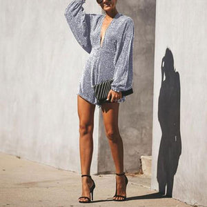 Backless Vneck Sexy Flash Sequins Bat Long Sleeve Jumpsuit