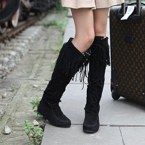 Fashion Pure Color Tassels High Cylinder Flat Heeled Boots