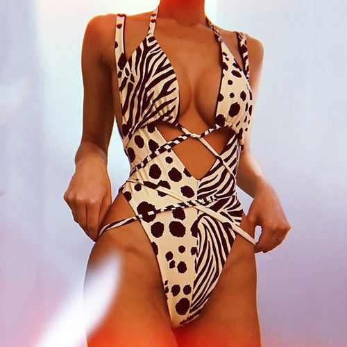 Leopard Sexy Strap Two-Piece Swimsuit