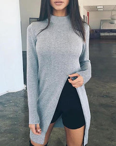 High Neck  Asymmetric Hem Side Slit  Plain Sweaters