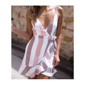 Deep V Neck Abstract Print Vertical Striped  Casual Dresses
