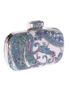 Paisley Printed Evening Clutch Bag