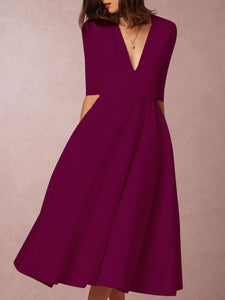 Sexy Deep V-Neck Solid Midi Skater Maxi Dress