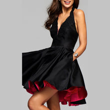Sexy Deep V Halter Sleeveless Evening Dress