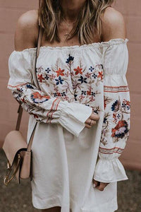 Off Shoulder Floral Printed Bell Sleeve Mini Dresses