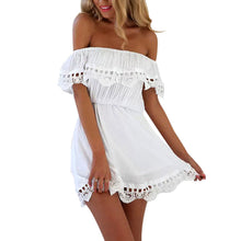 Sexy Strapless Collar Lace Stitching Vacation Dress