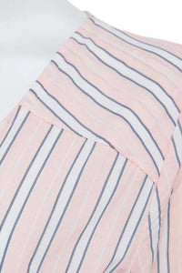 V Neck  Asymmetric Hem  Vertical Striped  Three Quarter Sleeve Maxi Dresses