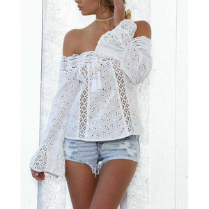 Lace Off Shoulder Mandarin Sleeve Top