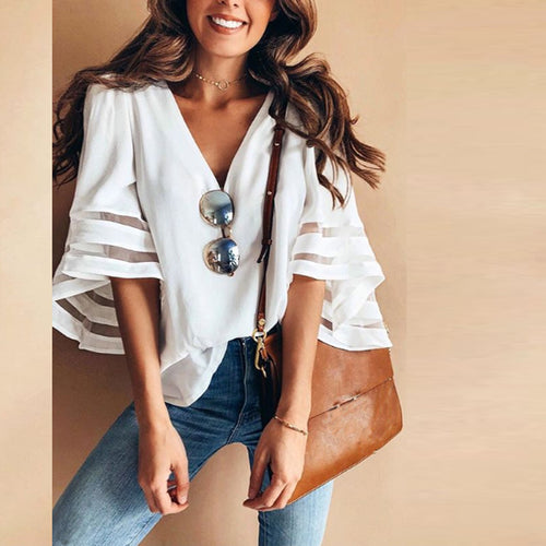 summer  Style Sexy Deep V Neck Trumpet Sleeve Blouse