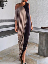 One Shoulder  Patchwork  Color Block Maxi Dresses