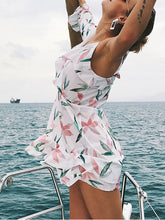 White Sexy Floral Print Lotus Leaf Mini Vacation Dress