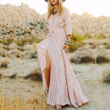 Stripe  V-Neck Classic Style Maxi Vacation Dress