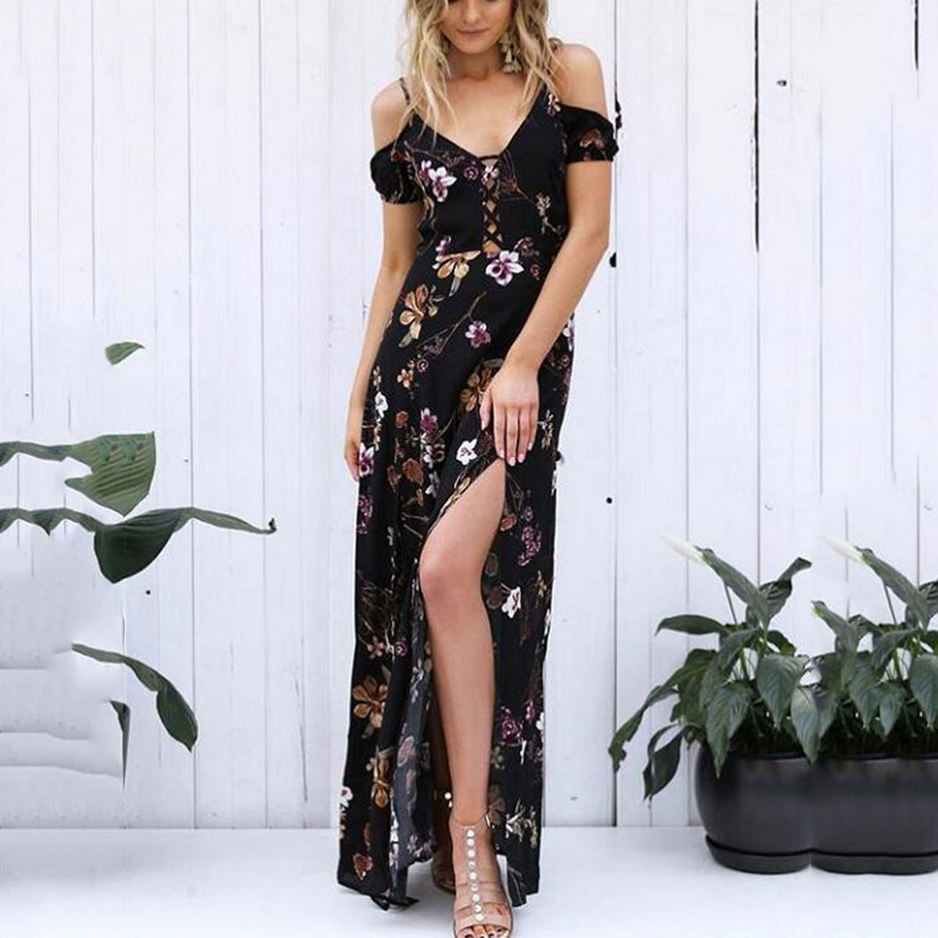 Sexy Off Shoulder Floral Print Maxi Dress
