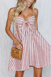 Sexy Lace-Up Stripe Bowknot Mini Dress