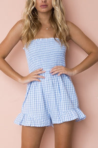 Sexy Fashion Grid Sleeveless Romper